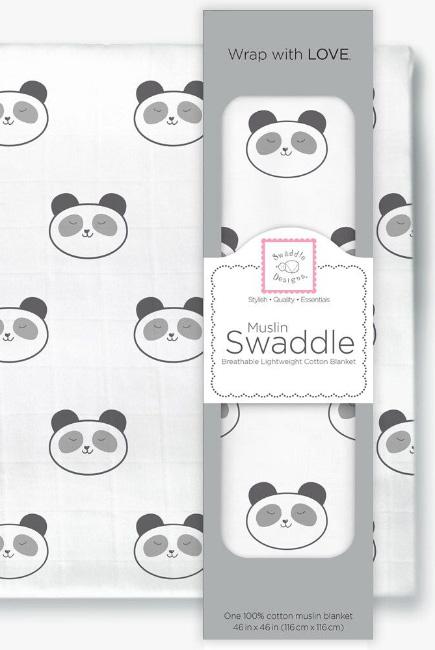 Муслиновая пеленка для новорожденных Swaddle Designs большая, Black Panda Face