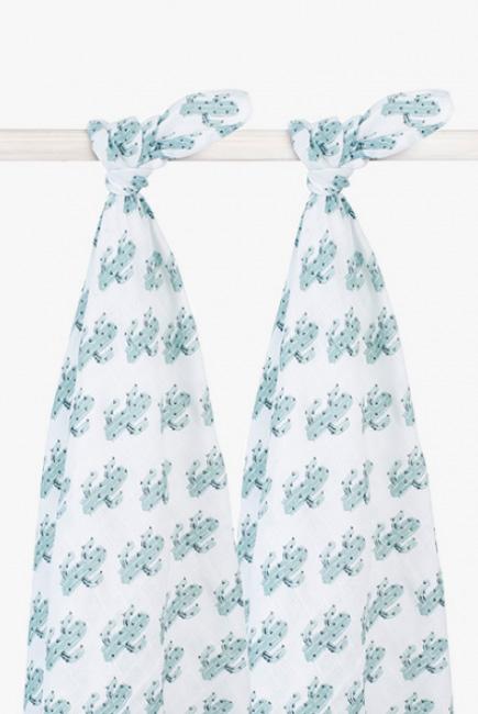 Муслиновые пеленки для новорожденных Jollein большие, Tropical Cactus