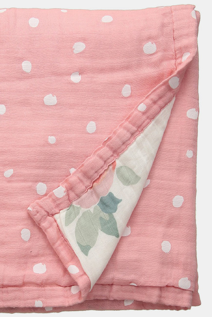 Одеяло из муслина с бамбуком Bebe au Lait, цвет Rosy and Dewdrops