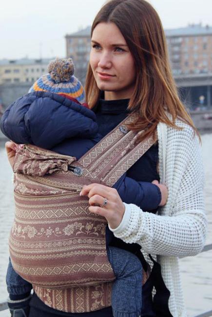 Эрго рюкзак шарфовый с бамбуком Карауш растущий, Toffee