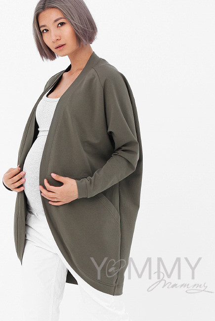 Кардиган для беременных и кормящих с карманами, цвет хаки