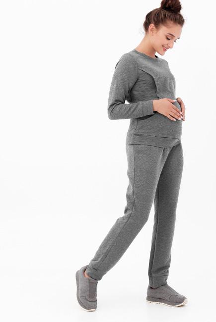 Костюм для кормящих и беременных, цвет темно-серый меланж