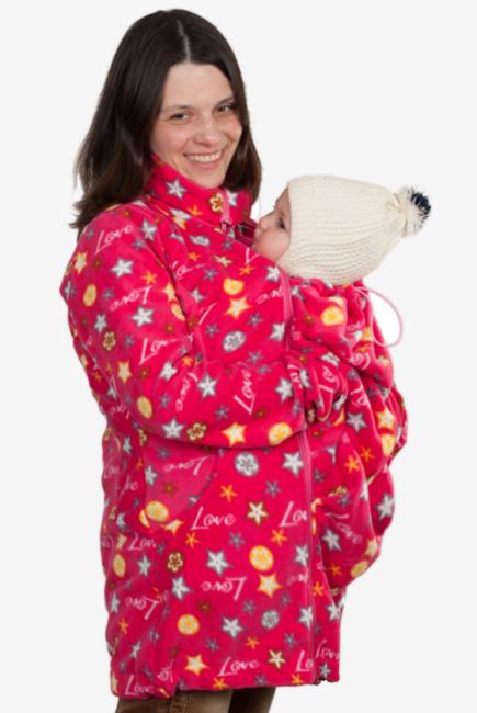 Флисовая слингокуртка и куртка для беременных, розовые звезды