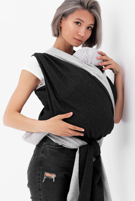 Слинг-шарф трикотажный двусторонний, серый/темно-серый