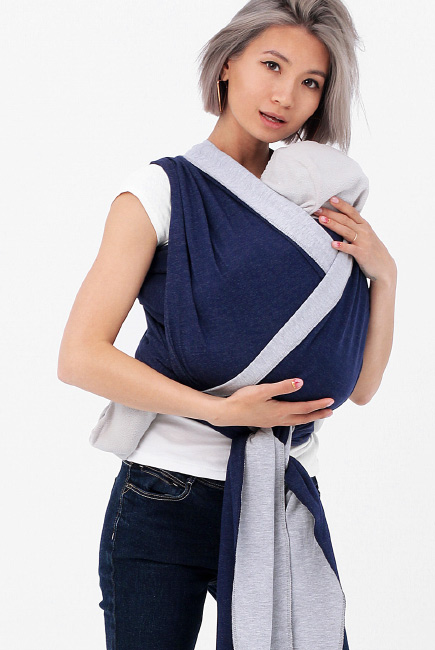 Слинг-шарф трикотажный двусторонний, серый/темно-синий