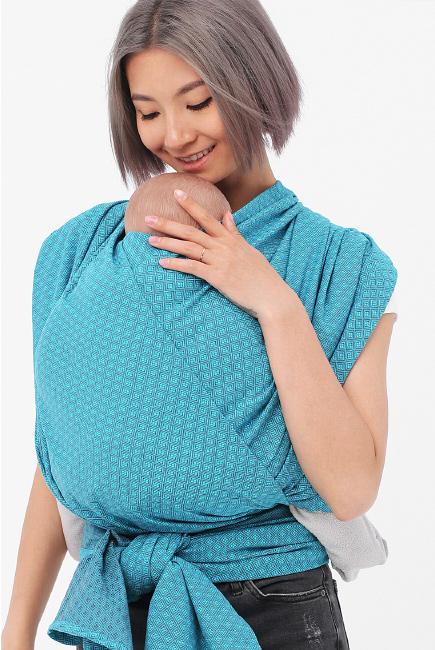 Слинг-шарф алмазного плетения YammyMammy, бирюзовый/темно-серый