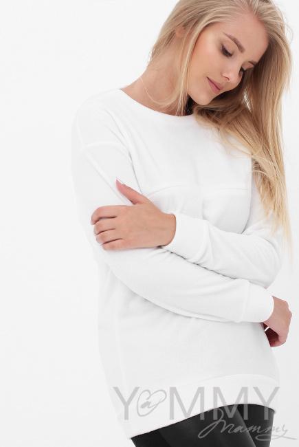 Джемпер для беременных и кормящих флисовый, цвет белый