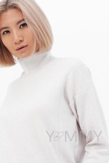 Джемпер для кормящих и беременных с воротником стойкой, цвет светло-бежевый