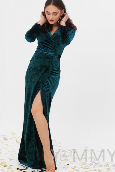 Вечернее платье для кормящих и беременных длинное бархатное на запах,  изумрудное 43ae739acf4