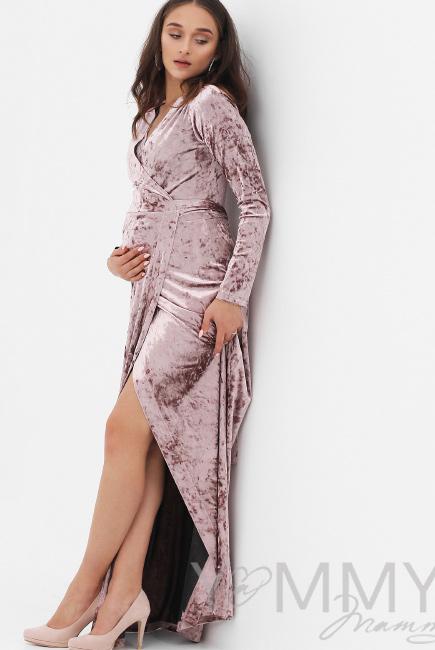 Вечернее платье для кормящих и беременных длинное бархатное на запах, цвет  пудрово-розовый b6da0275fc0