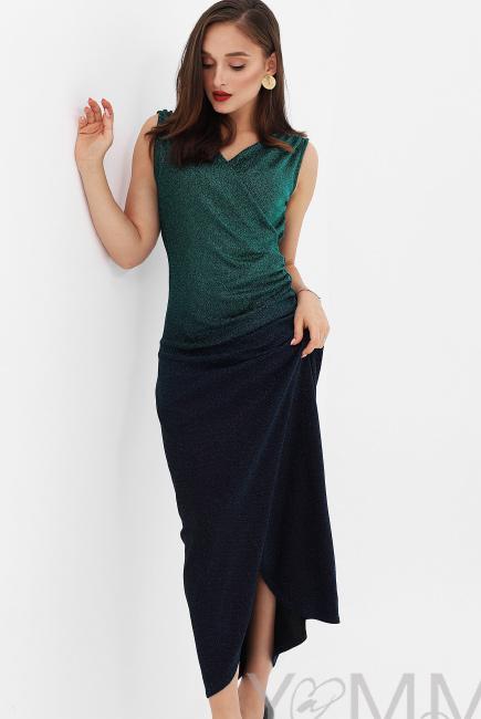 Вечернее платье для кормящих и беременных длинное с градиентом, цвет  изумрудный bf024b1c8fc
