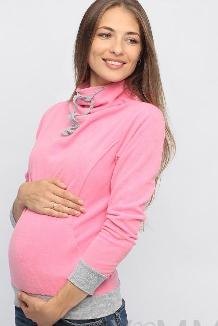 Толстовка для кормящих и беременных флисовая с завязками, цвет розовый