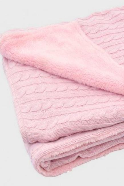 """Вязаный плед с мехом для новорожденных (косичка) Jollein, """"светло-розовый"""", средний"""