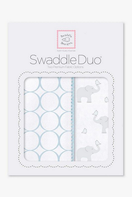 Набор пеленок SwaddleDesigns Swaddle Duo PB Elephant & Chickies Mod Duo