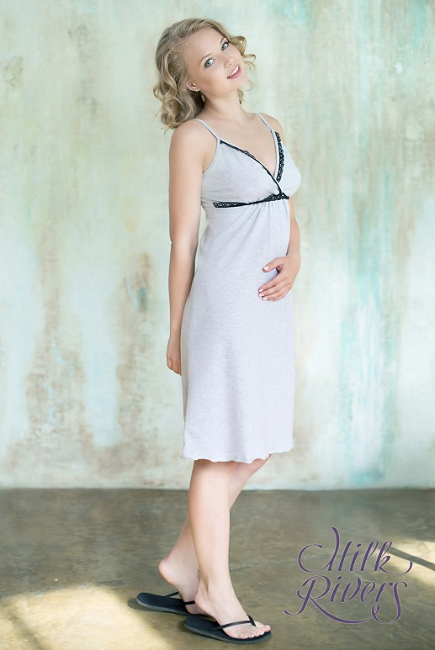 """Ночная сорочка для беременных и кормящих """"Селена"""" Milk Rivers, серый меланж"""
