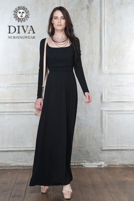 Платье для кормящих и беременных Diva Nursingwear Stella Maxi дл.рукав, цвет Nero