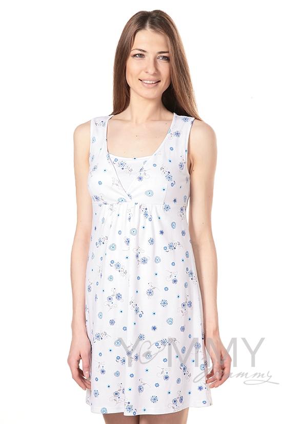 Сорочка со сборкой с голубым цветочным принтом