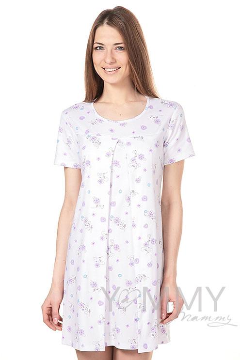 Сорочка с сиреневым цветочным принтом