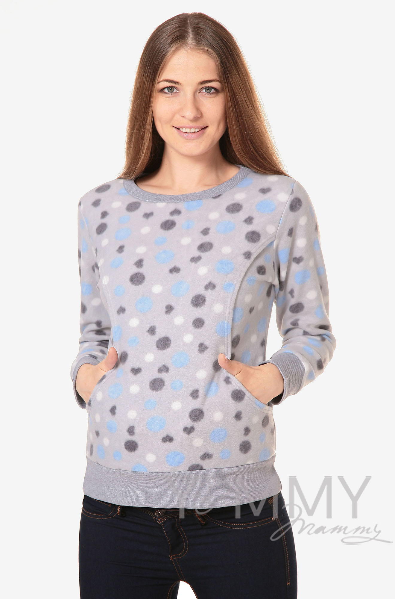 Джемпер для кормящих и беременных флисовый, цвет серый с голубыми и серыми кругами