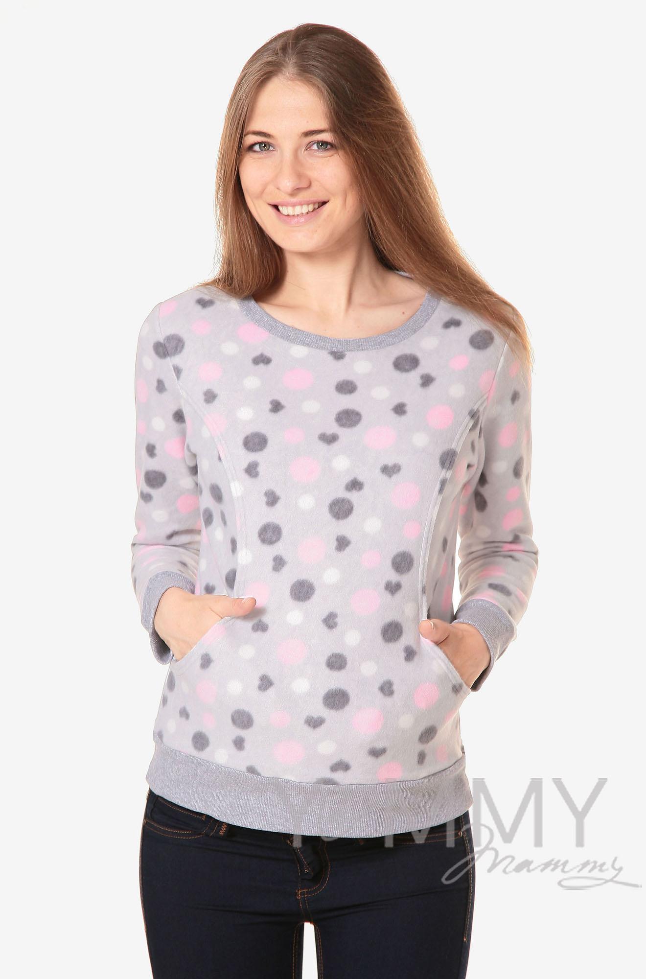 Джемпер для кормящих и беременных флисовый, цвет серый с розовыми и серыми кругами