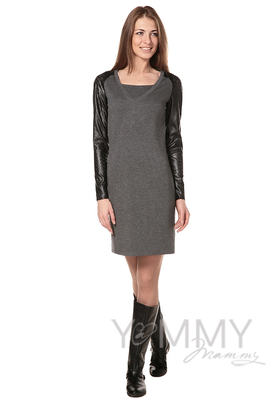 Платье с рукавами из эко-кожи серый меланж для кормящих