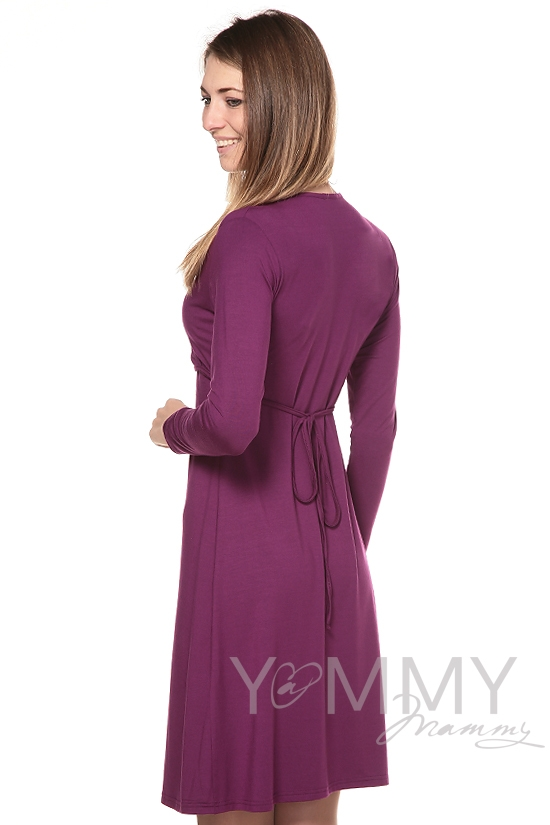 Платье на запах для кормящих и беременных, темная орхидея