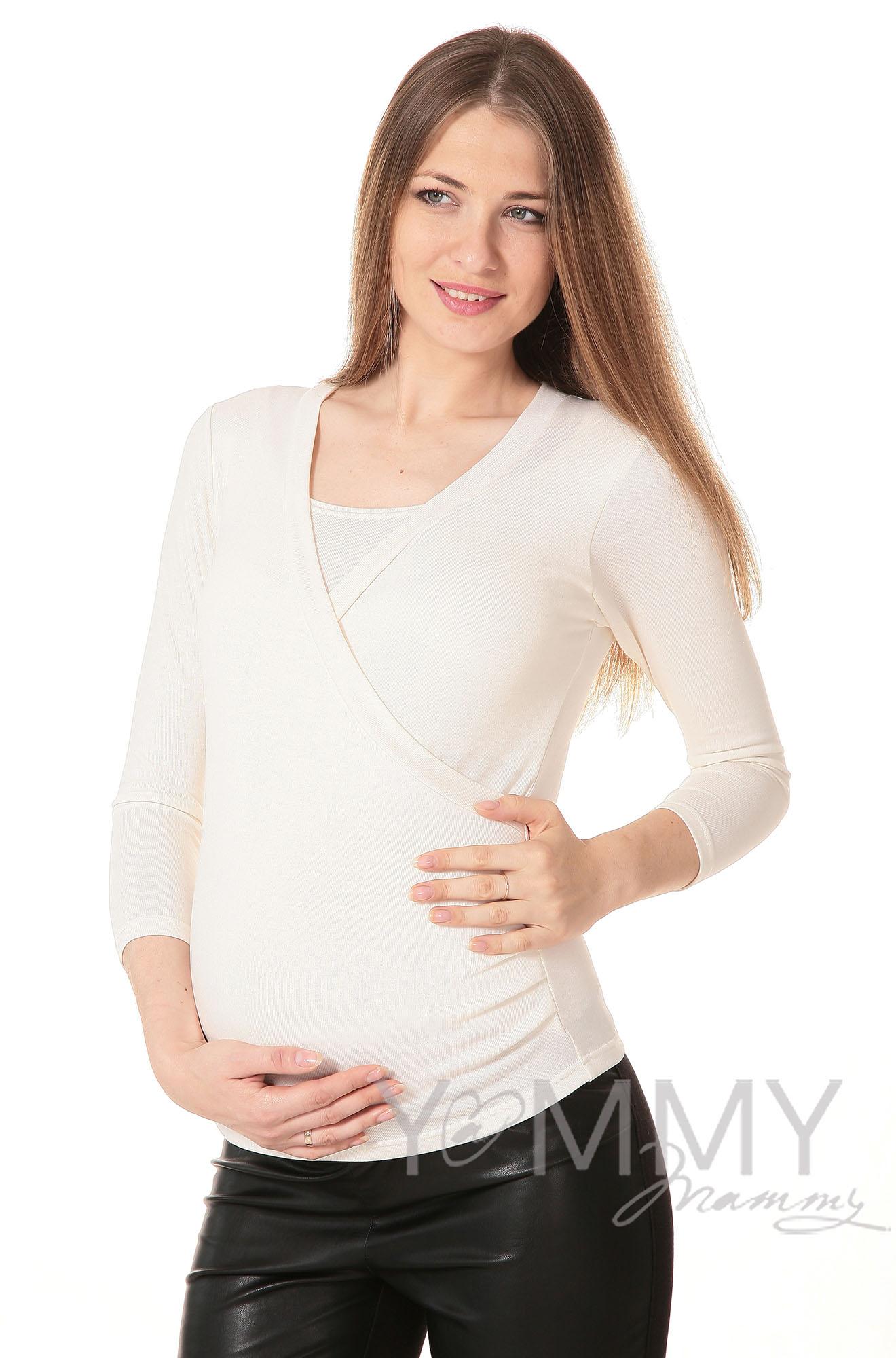 Блуза на запах для кормящих и беременных, цвет экрю