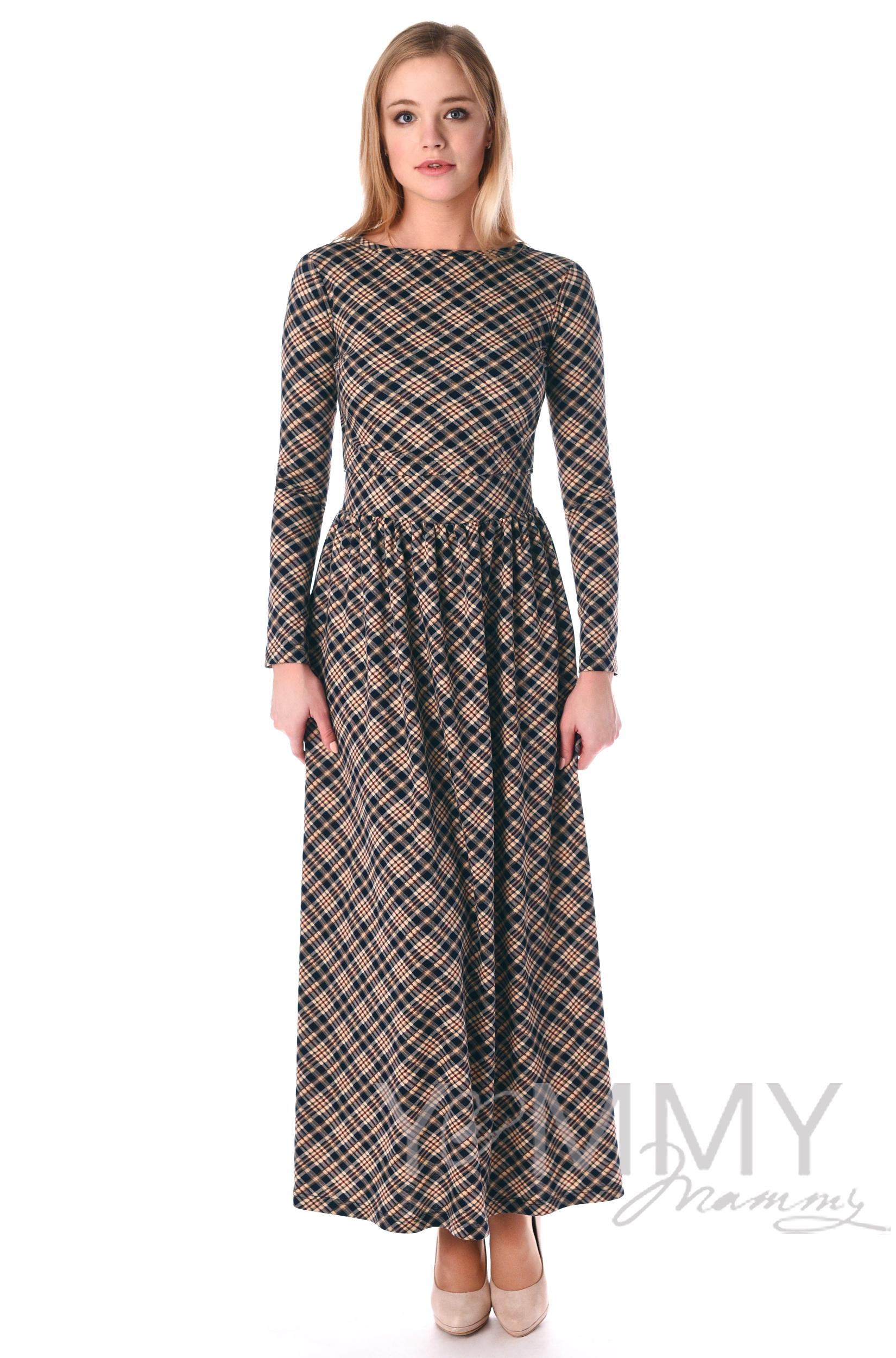 Платье длинное с карманами в бежевую/темно-синюю клетку для беременных
