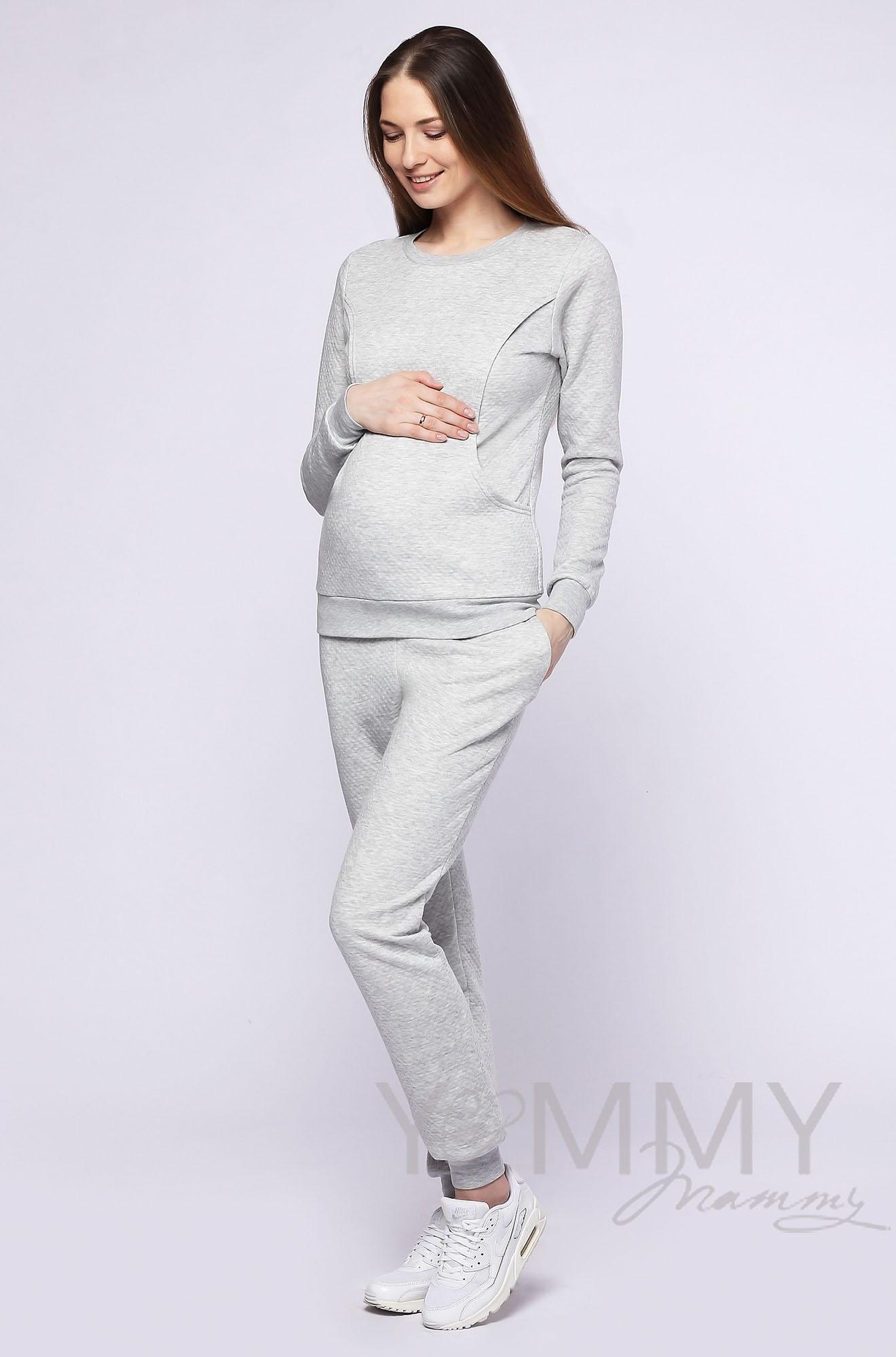 Костюм из капитония для кормящих и беременных, серый меланж