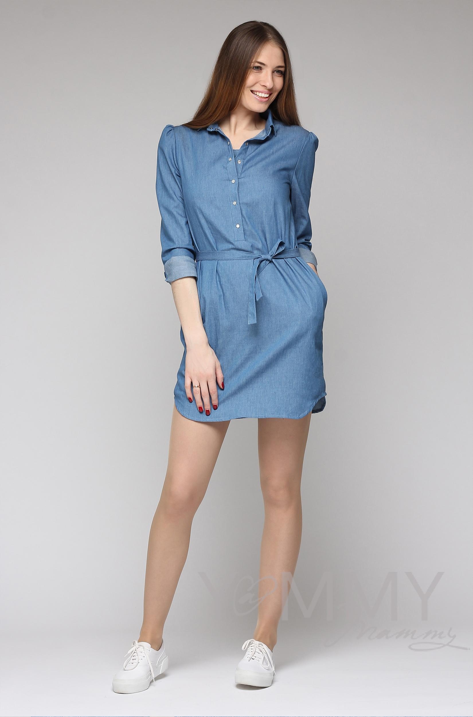 Платье-рубашка джинсовое с длинным рукавом для беременных