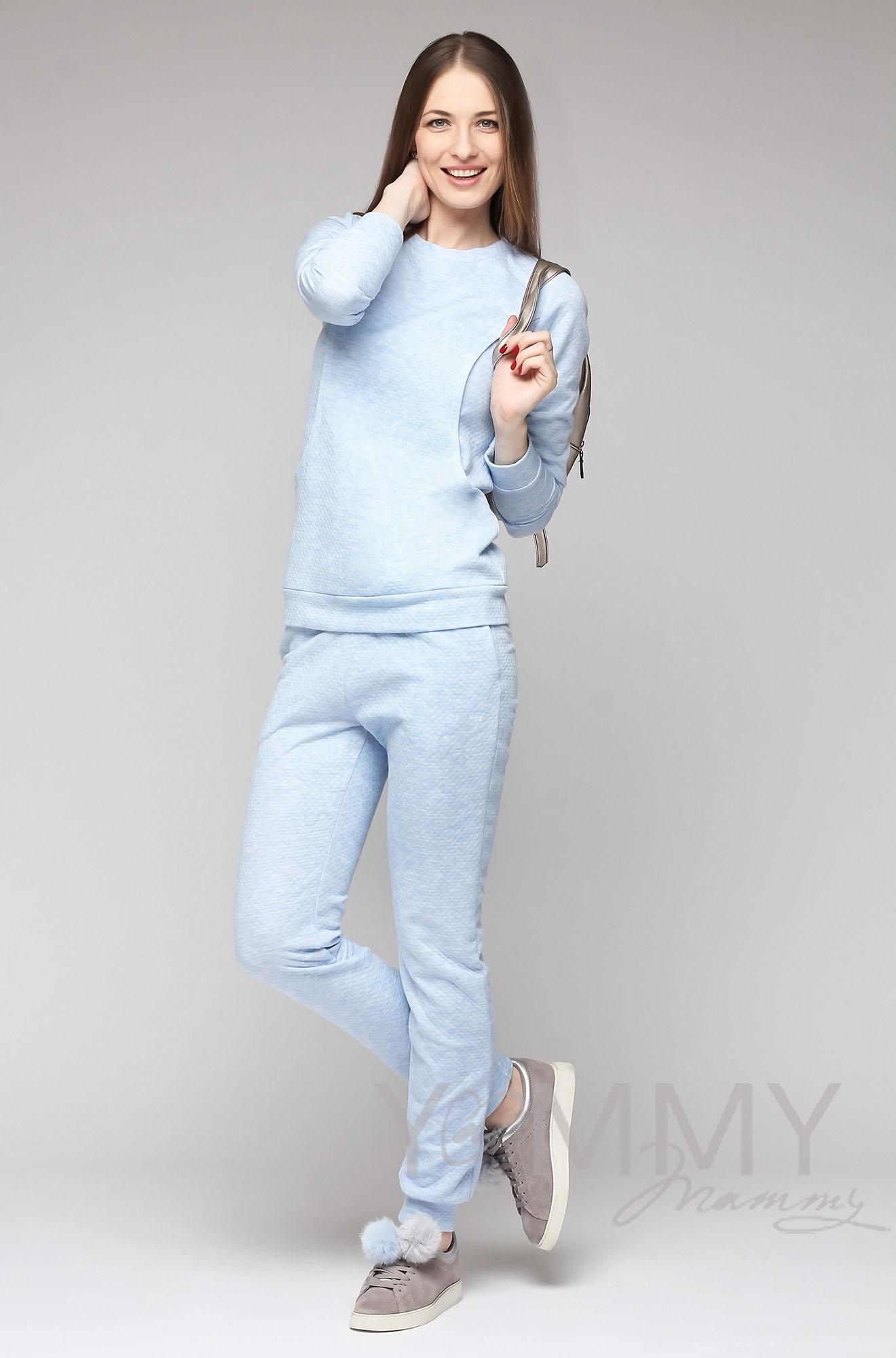 Костюм из капитония для кормящих и беременных, светло-голубой меланж