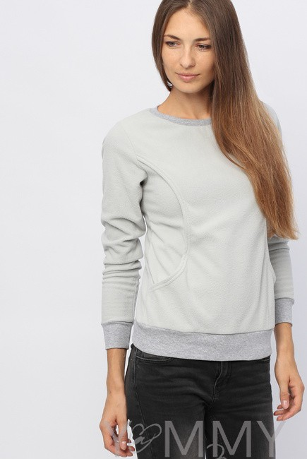 Джемпер для кормящих и беременных флисовый, цвет серый