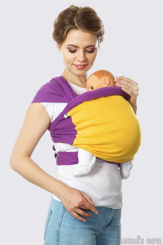 Слинг-шарф трикотажный Fusion, фиолетово-желтый