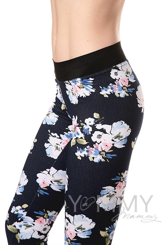 Джегинсы универсальные джинса с белыми цветами для кормящих