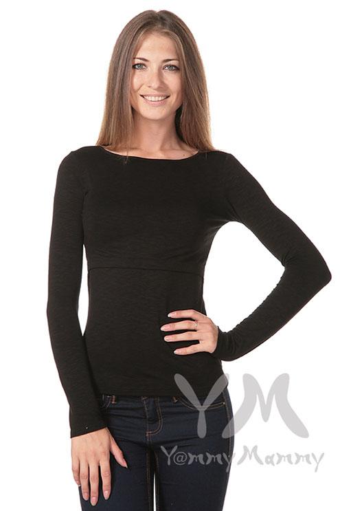 Лонгслив из вискозы для беременных и кормящих, черный