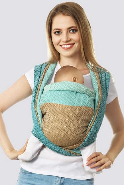 Слинг-шарф алмазного плетения, бирюза-бронза
