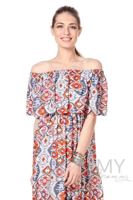 Платье-сарафан для беременных и кормящих, с оборкой по плечам оранжевое