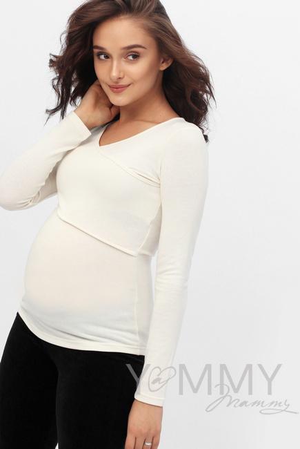 Лонгслив для беременных и кормящих, цвет экрю