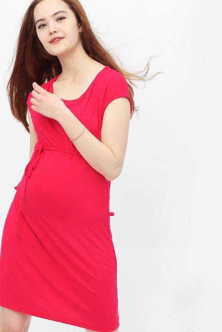 """Платье для беременных и кормящих с горловиной """"качелька"""", фуксия"""