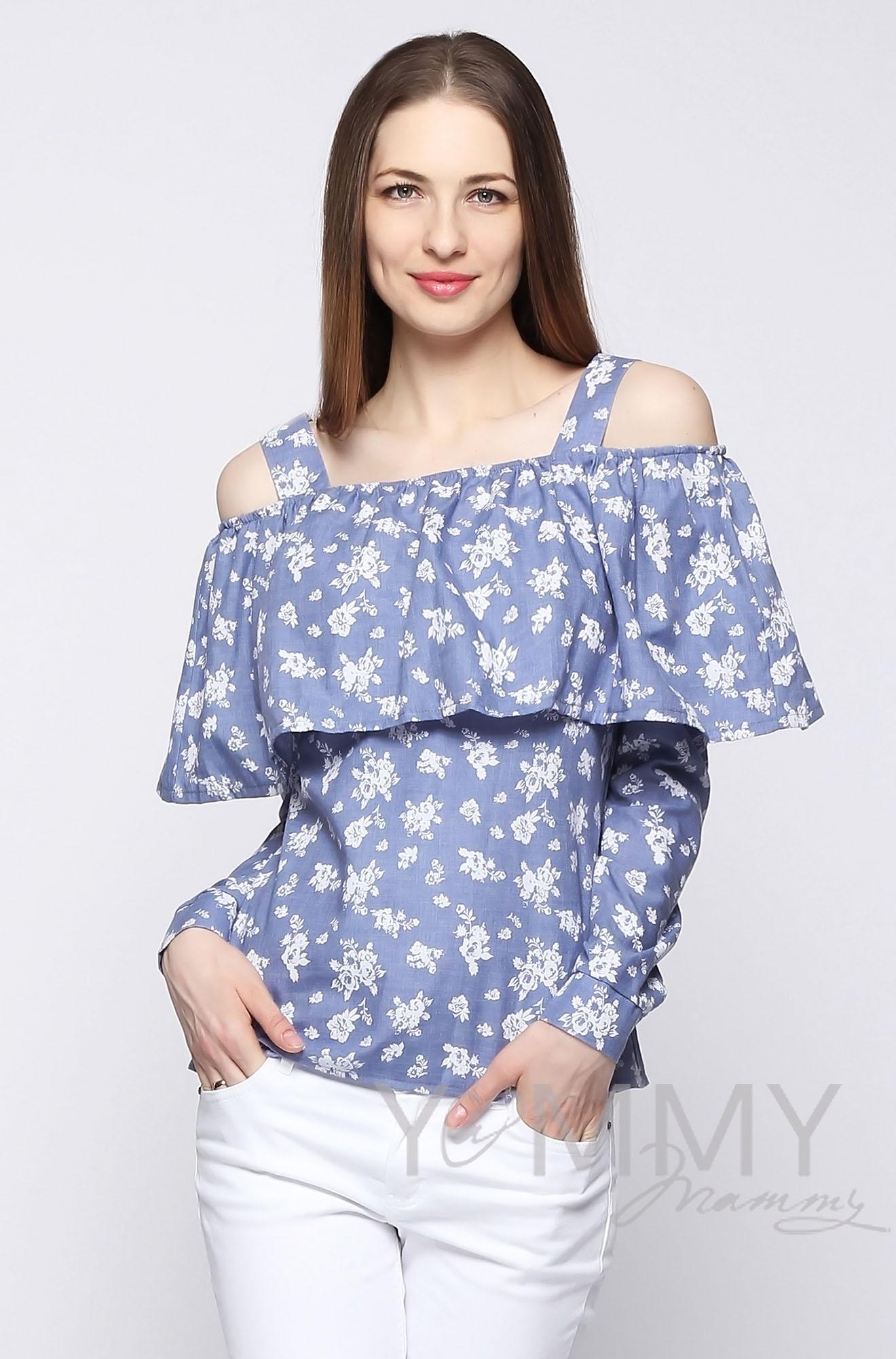 Блуза для беременных и кормящих с воланом, голубая с цветочным принтом