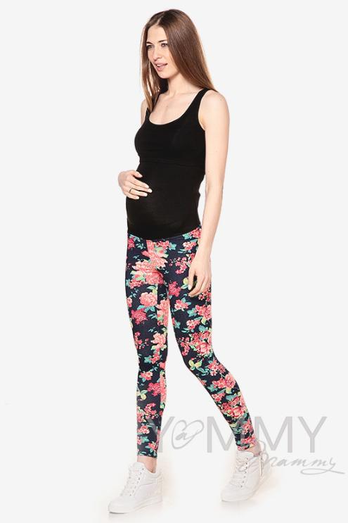 Джегинсы для родивших и беременных универсальные, с цветочным принтом