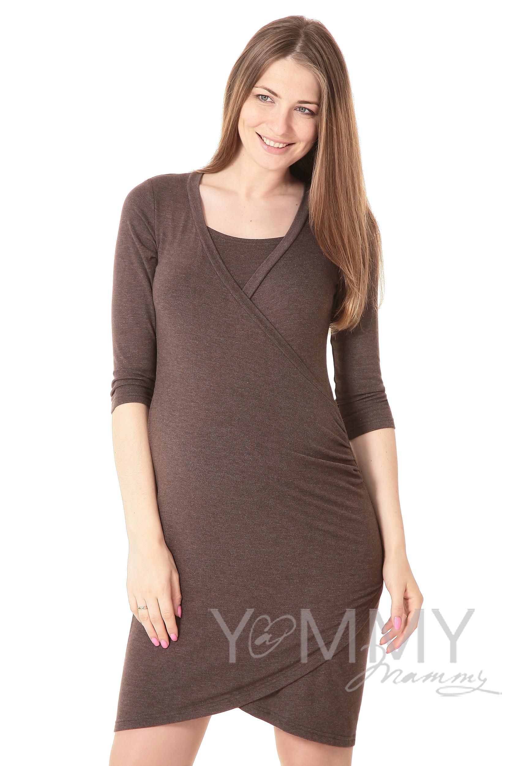 Платье для кормящих и беременных со складками, мускат меланж