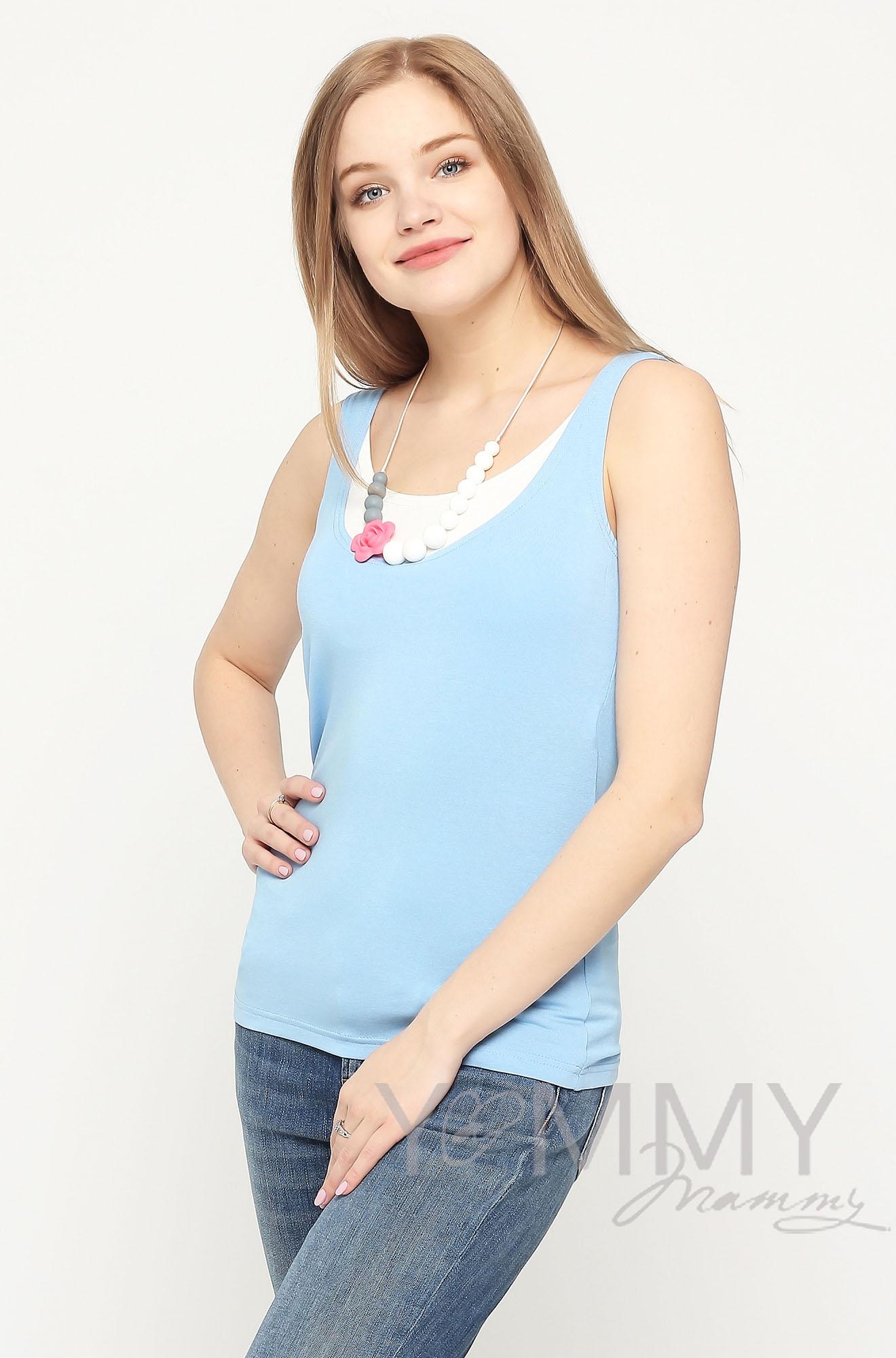 Майка для беременных и кормящих, цвет голубой с белым
