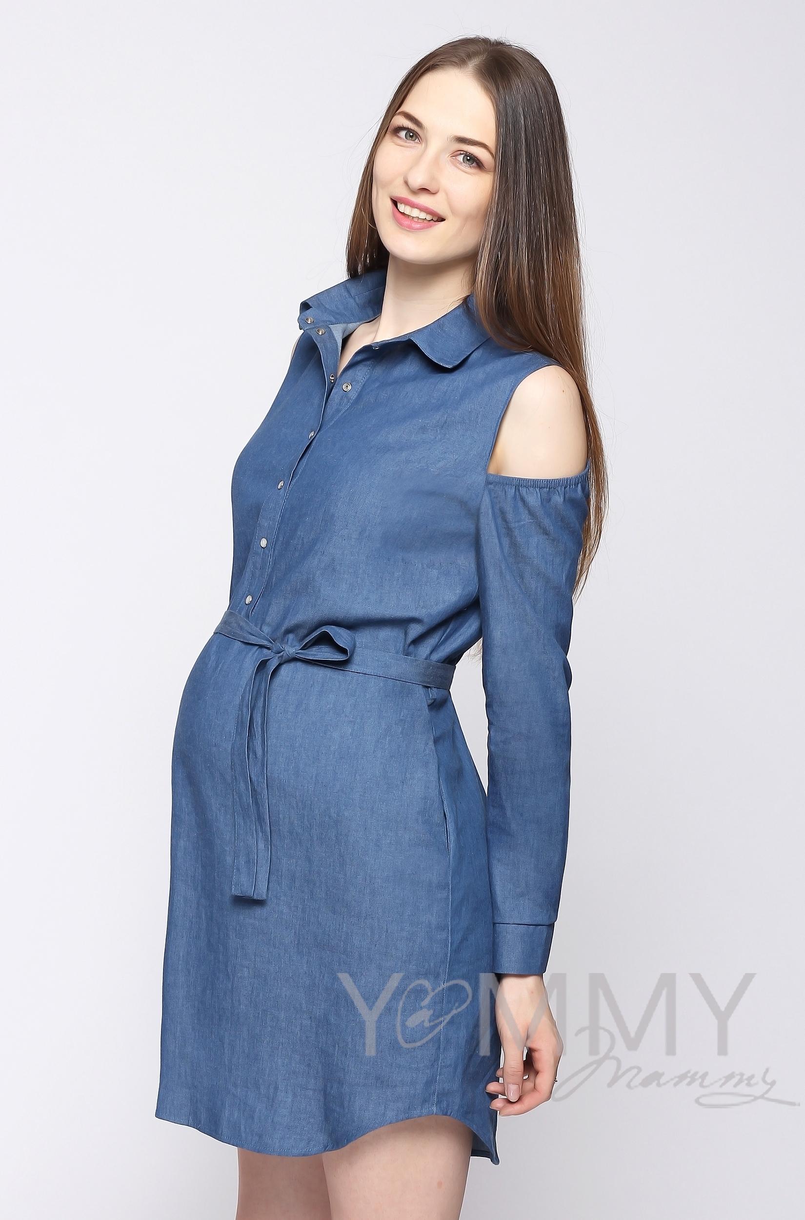 Платье-рубашка для беременных и кормящих, джинсовое с открытыми плечами