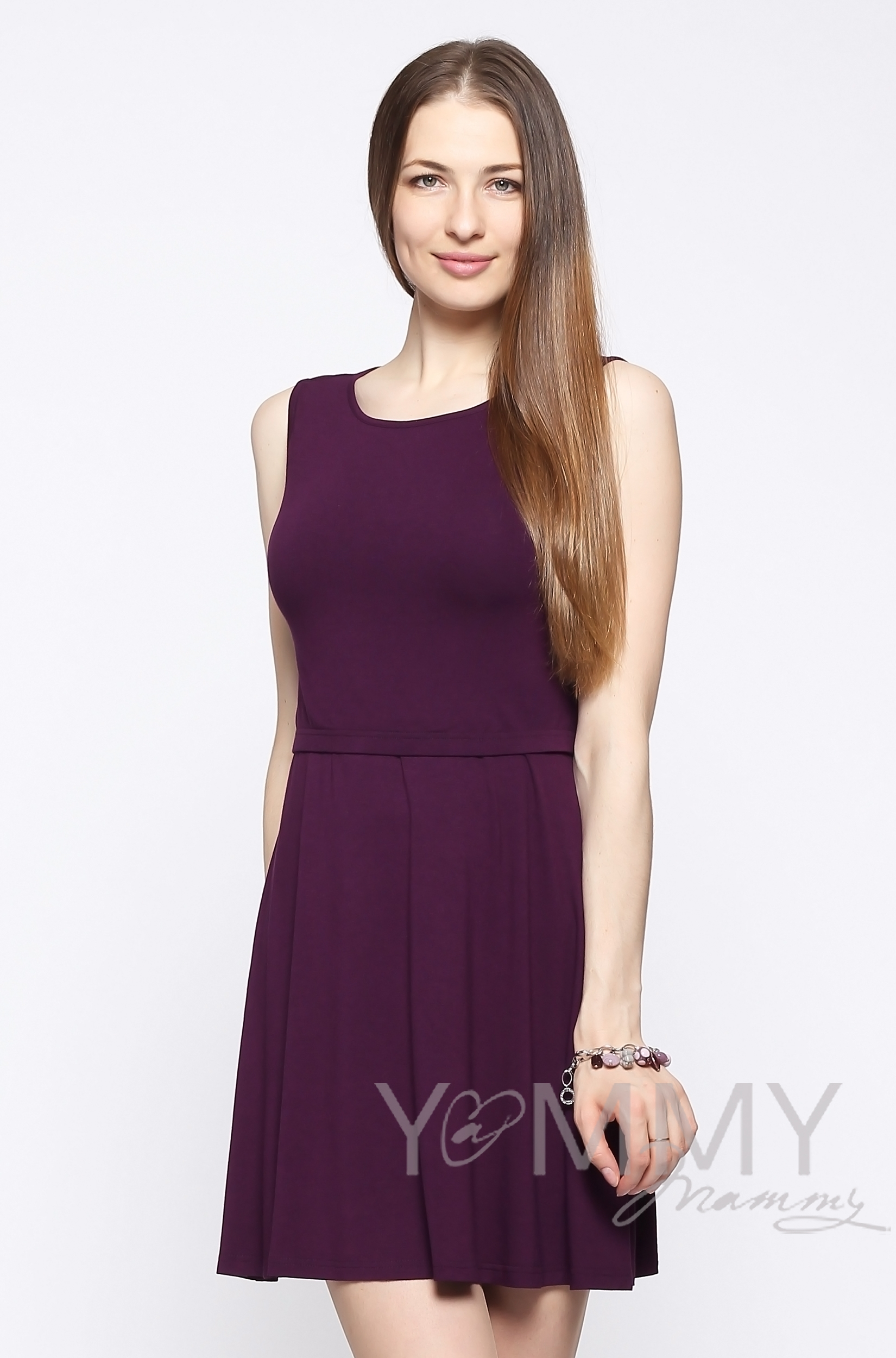 Платье для беременных и кормящих с пояском, темно-лиловое