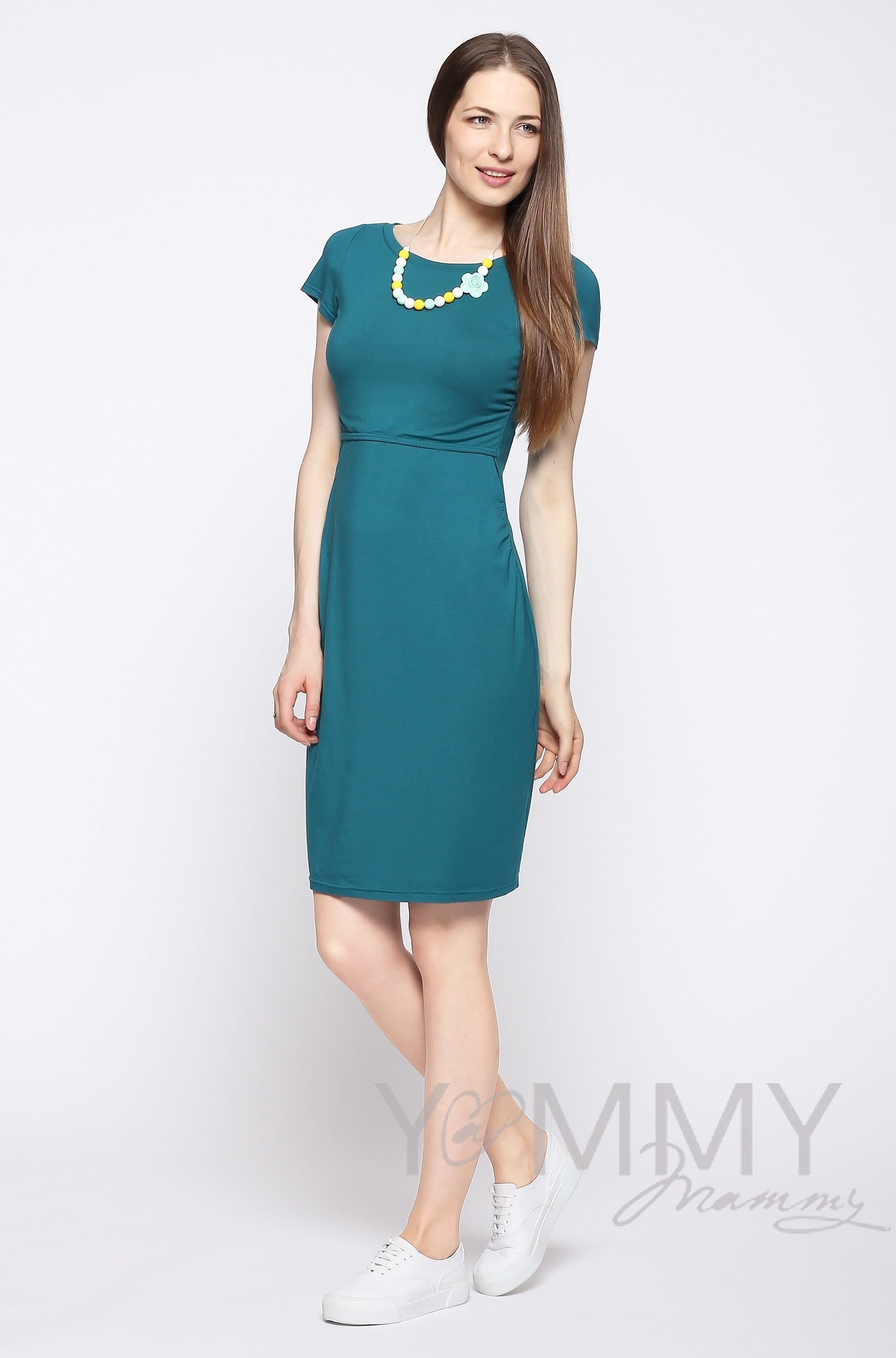 Платье для беременных и кормящих из модала с коротким рукавом, изумрудное