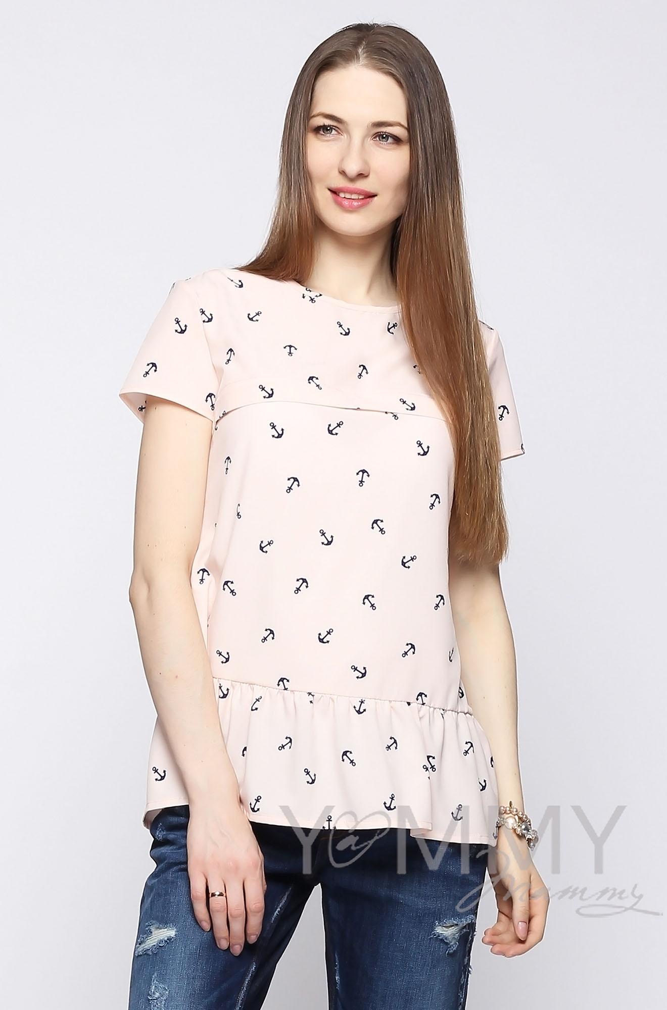 """Блуза для беременных и кормящих с воланом, персиковая с принтом """"якоря"""""""