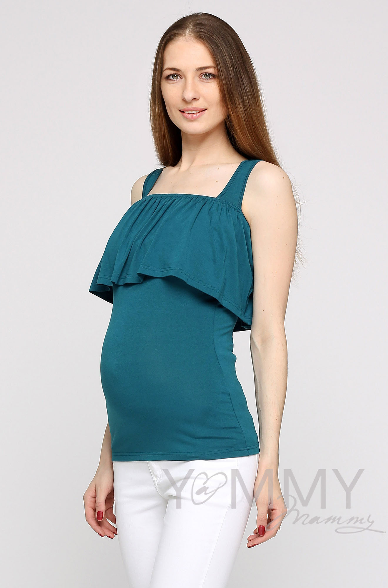 Топ для кормящих и беременных с воланом, цвет изумруд