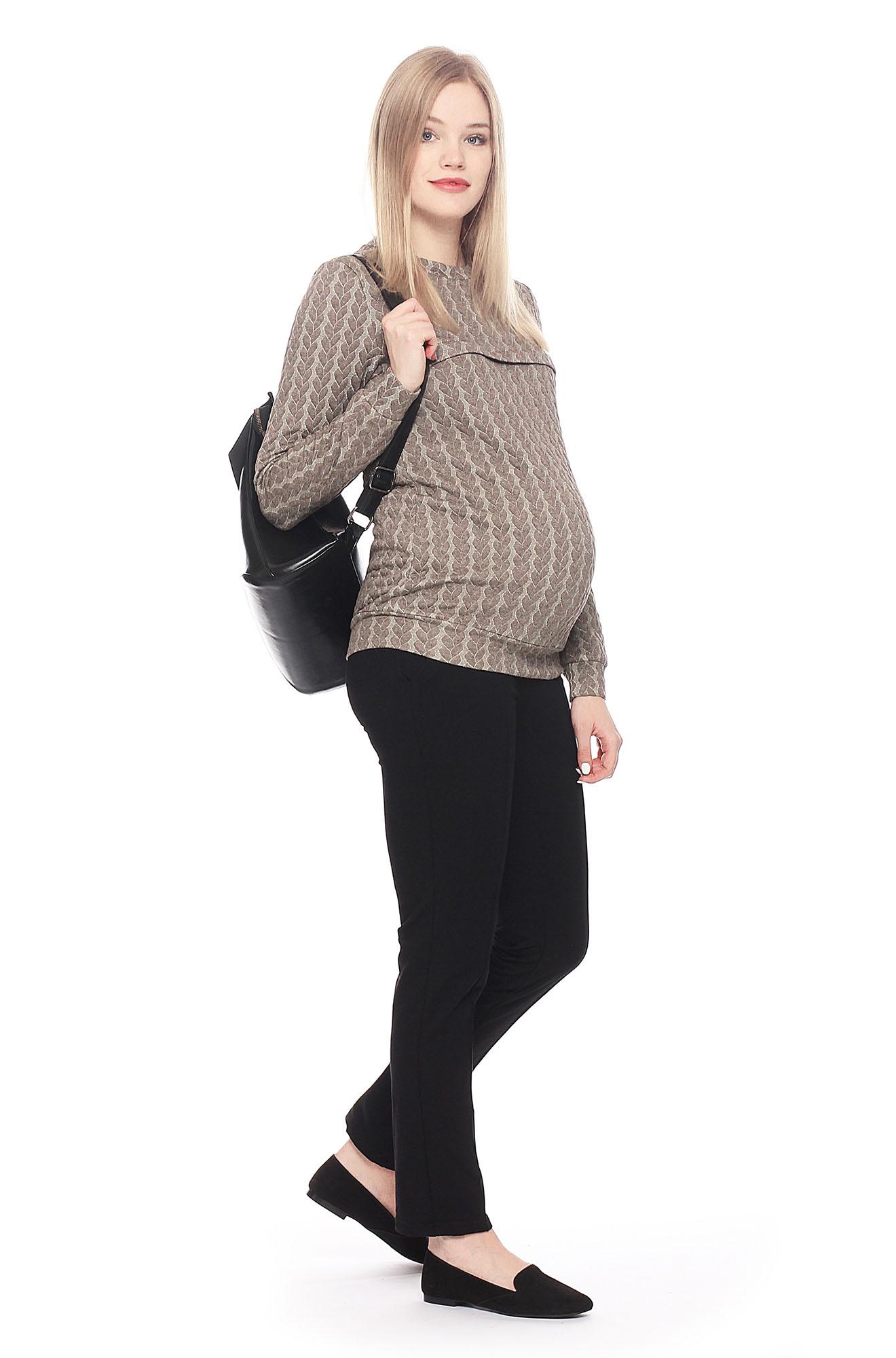 """Свитшот для кормящих и беременных с узором """"косы"""", коричневый меланж"""