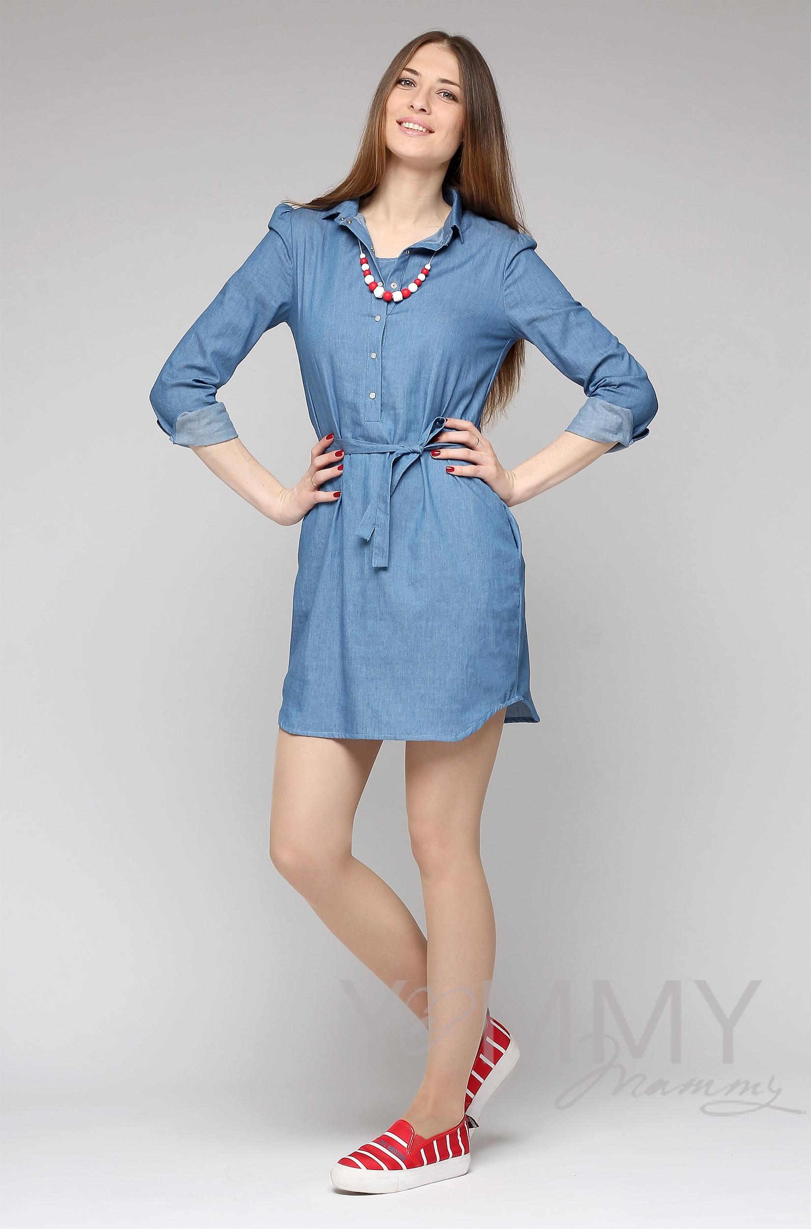 Платье-рубашка для беременных и кормящих, джинсовое
